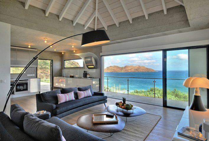 Villa Eranos - Breezy Villa on Two Levels for Rent in St Barth Anse des Lezards - Living room