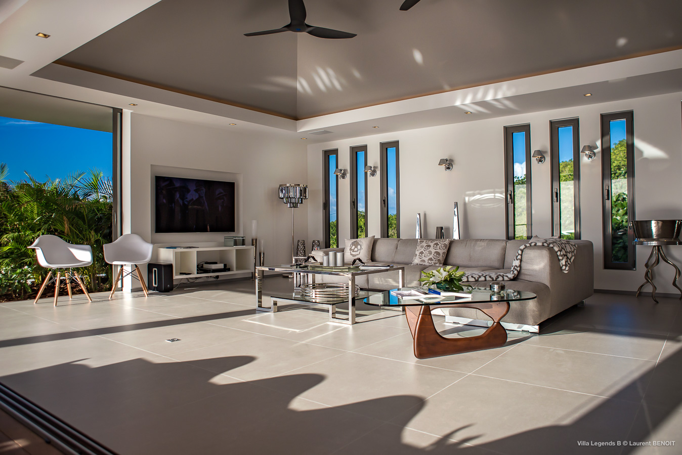 Villa Legend B - Contemporary Villa for Rent with Full Air Conditioning St Barth Lutin - Living Room