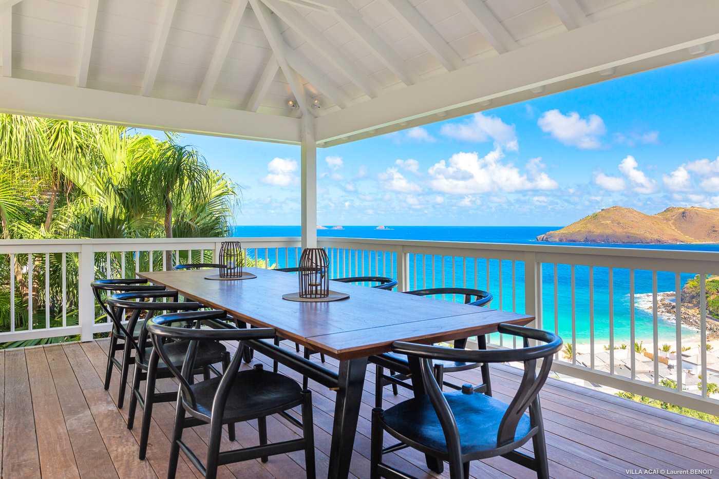 Villa Acai - Bright Villa Rental St Barth with Beautiful View on Flamands Beach - Patio with Seaview