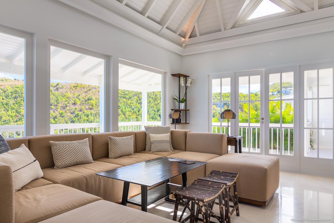 Villa Acai - Bright Villa Rental St Barth with Beautiful View on Flamands Beach - Living room