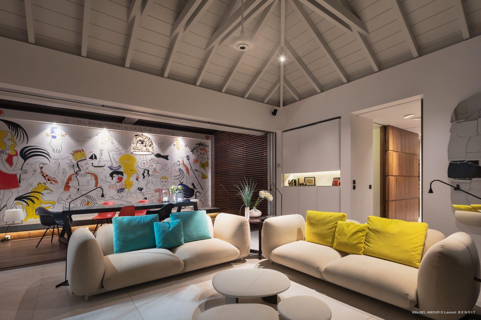 Villa Belamour - Cosy Villa Rental St Barth Sea view - Living room