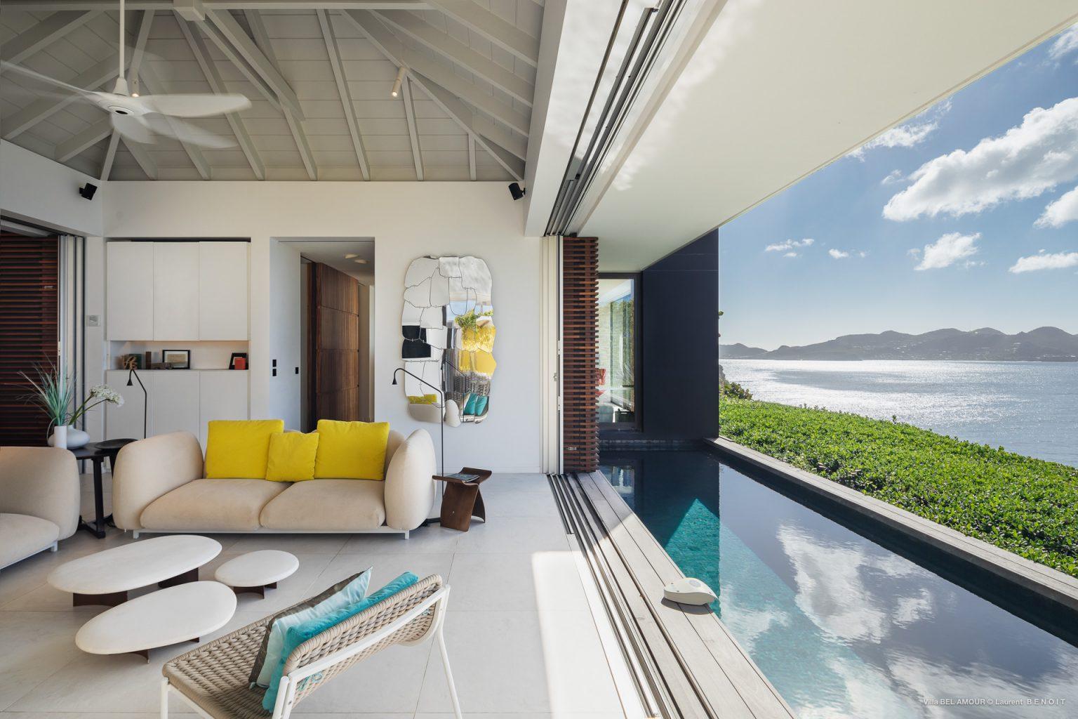 Villa Belamour - Cosy Villa Rental St Barth Sea view - Living room and Swimming pool