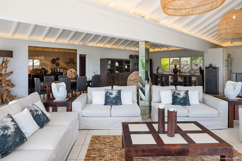 Villa Captain Cook - Peaceful Villa Rental St Barth Seaview - Living room