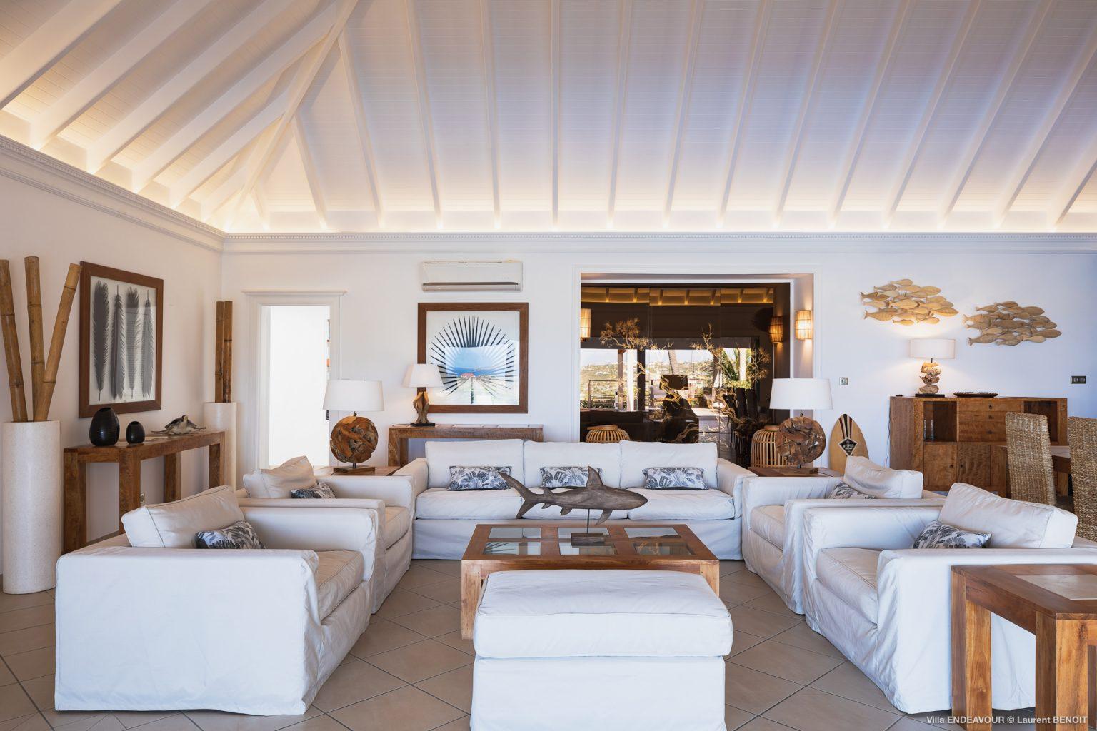 Villa Endeavour - Peaceful Villa Rental St Barth Toiny Seaview - Living room