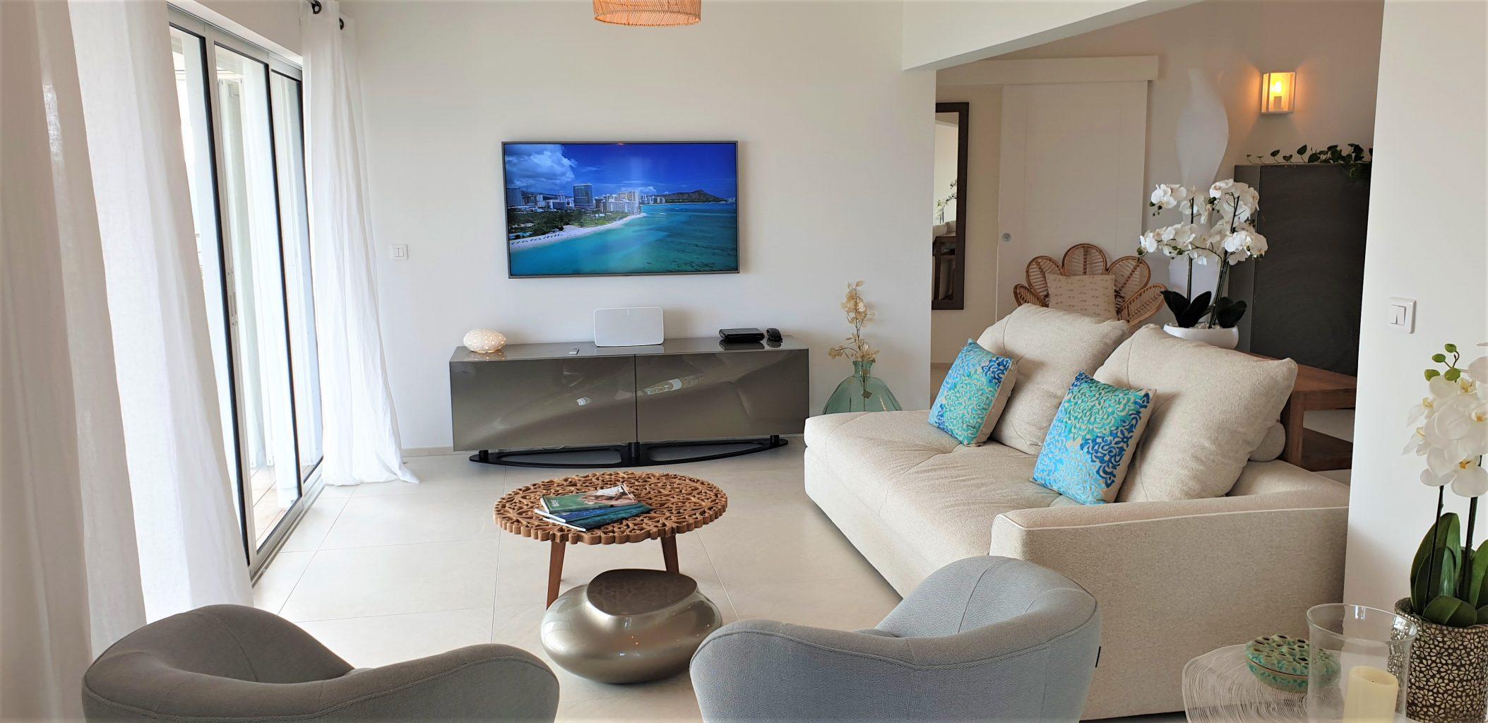 Villa Marris - Modern Villa Rent St Barth Lurin Sea view - Living room