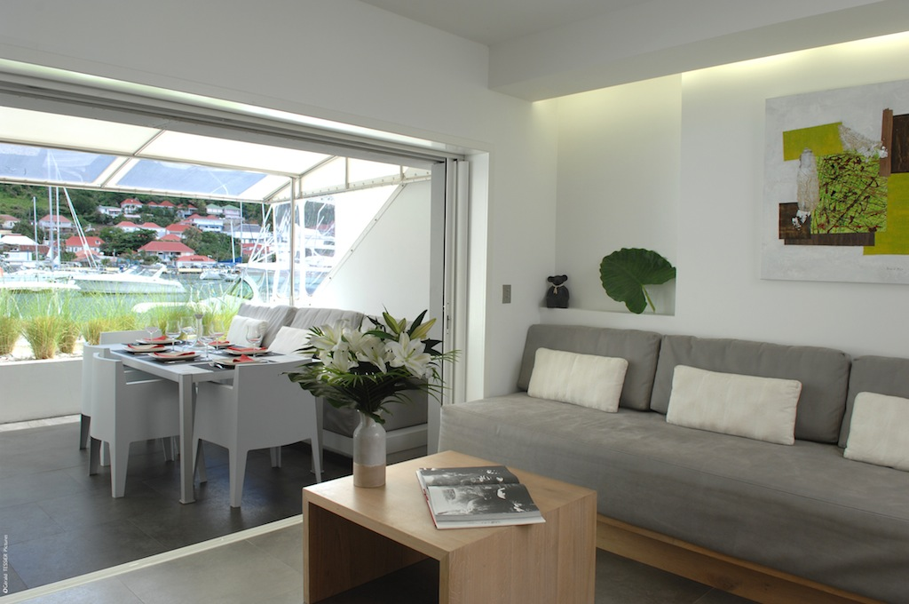 Apartment Harbour Loft - Modern Three Floors Apartment for Rent St Barth in the Center of Gustavia - Living room