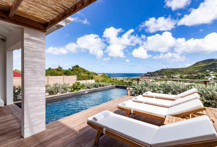 Villa Au Paille En Queue - 2 Bedroom Villa for Rent with Pool - St Jean Bay view