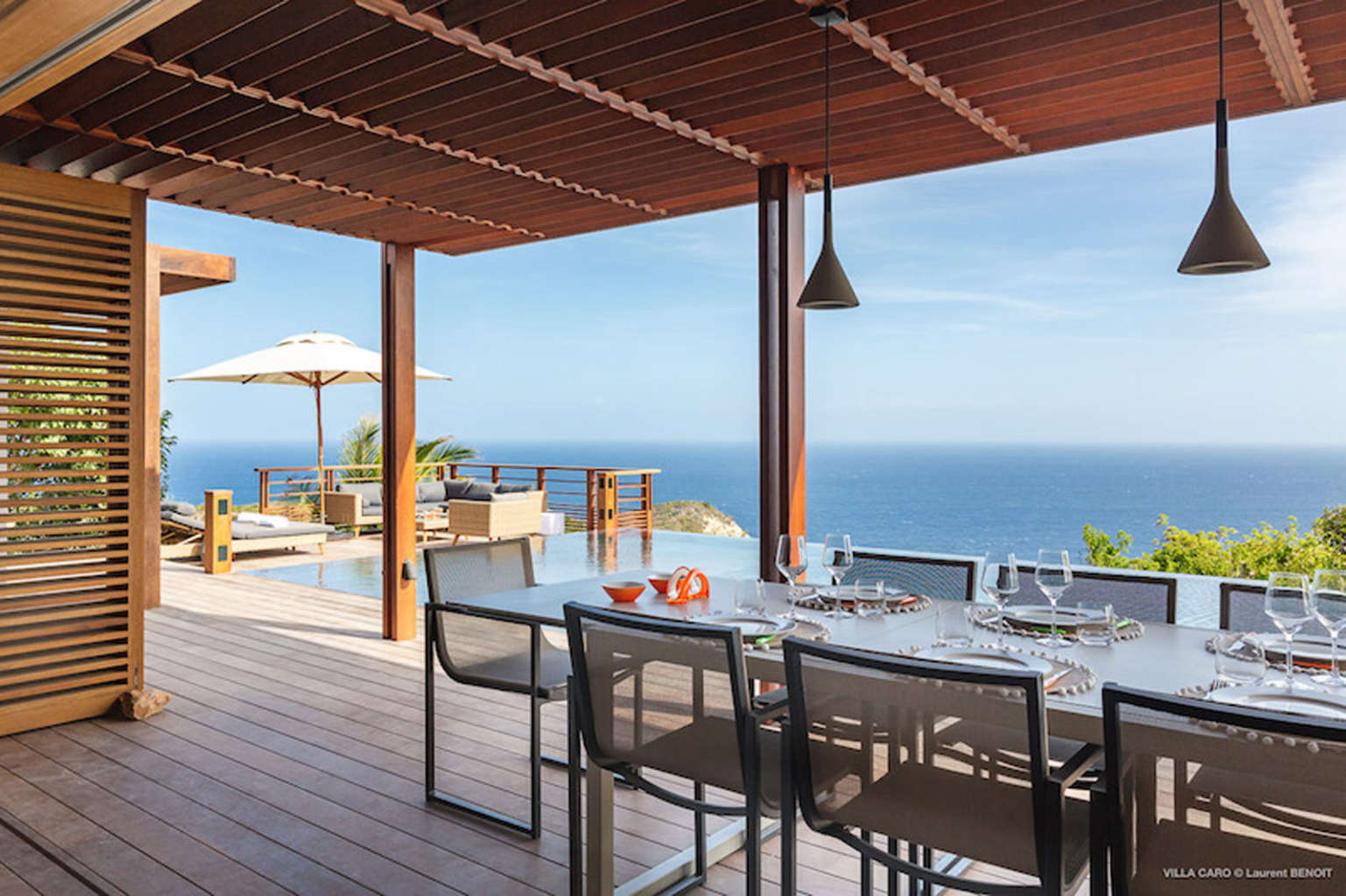 Villa Caro - Ultra Modern Villa Rental St Barth Gouverneur with large ocean view - Patio and Sea View