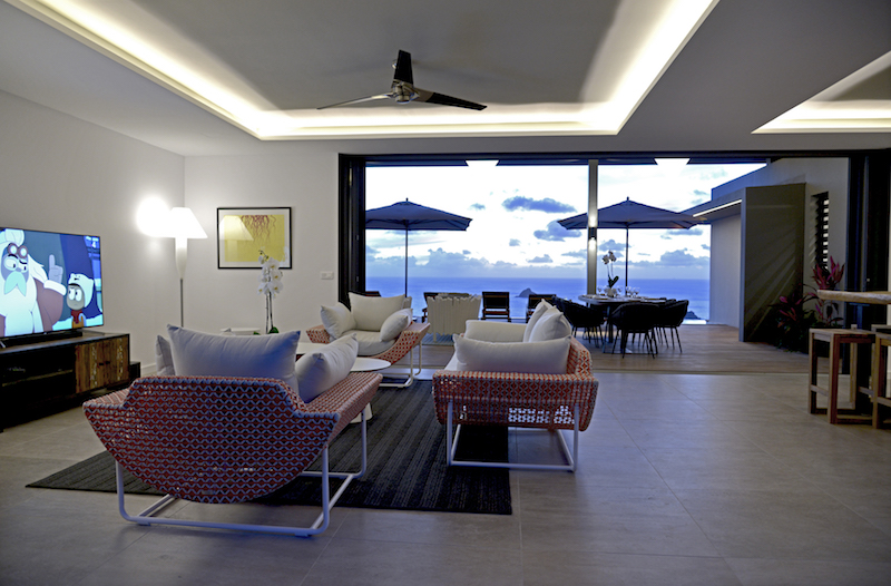 Villa Edunia - Modern and Minimalist Villa Rental St Barth Lurin with an Amazing Seaview and Sunsets - Living room