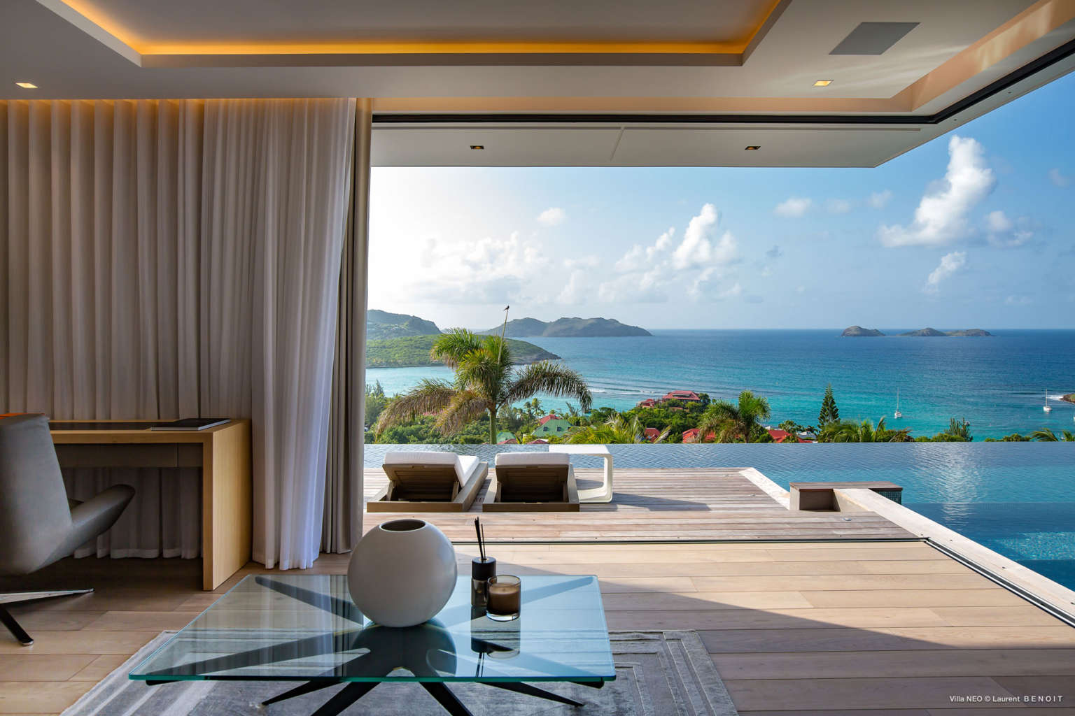 Villa Neo - 2 Levels Fully Air Conditioned Villa Rental St Barth with Panoramic View of St Jean bay and the Ocean - Sea View