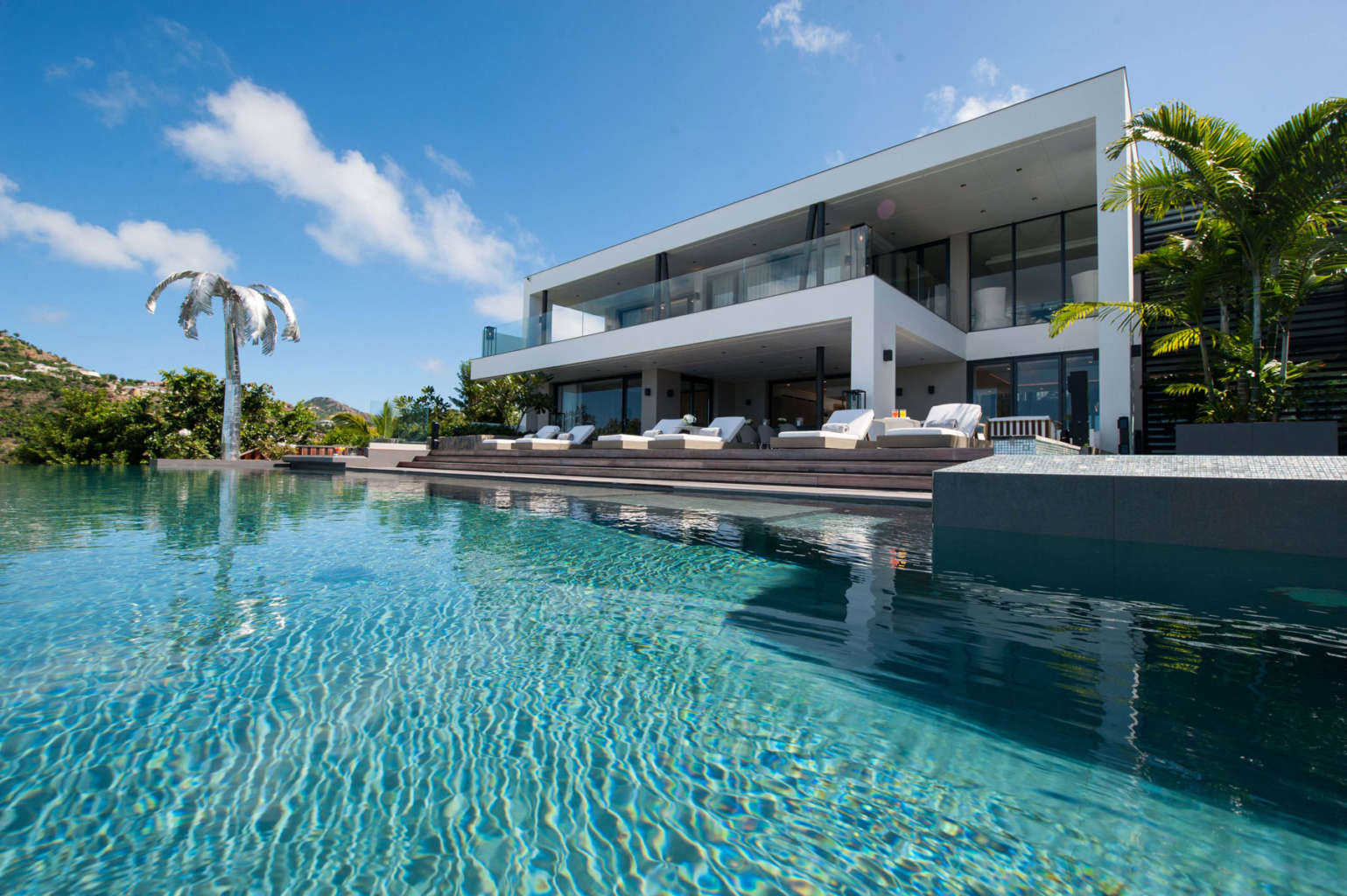 Villa Neo - 2 Levels Fully Air Conditioned Villa Rental St Barth with Panoramic View of St Jean bay and the Ocean - Outside View