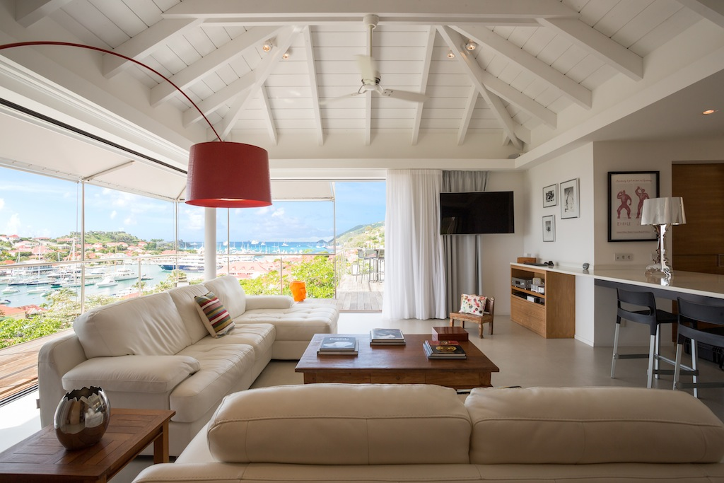 Villa Casaroc - Contemporary Two-Levels Villa for Rent St Barth with Spectacular Sunset Views - Living room
