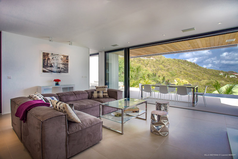 Villa Indyana - Modern and Comfortable Villa Rental St Barth with Air Conditioning and Heated Pool - Living Room