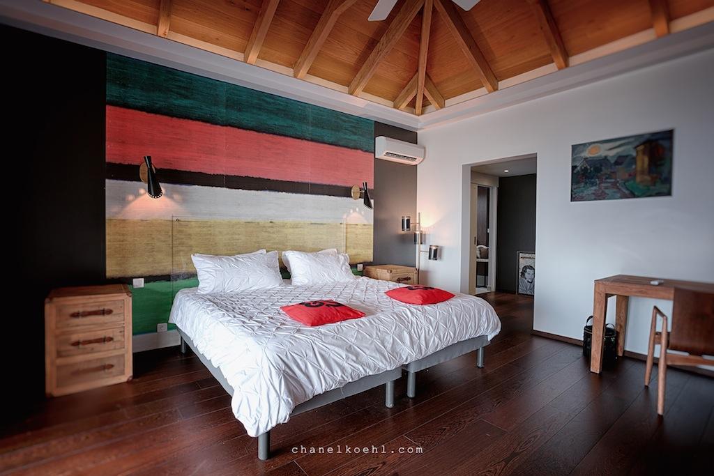 Villa Moh - Modern Villa Renta St Bath with a Beautiful View Over St Jean Bay - Bedroom