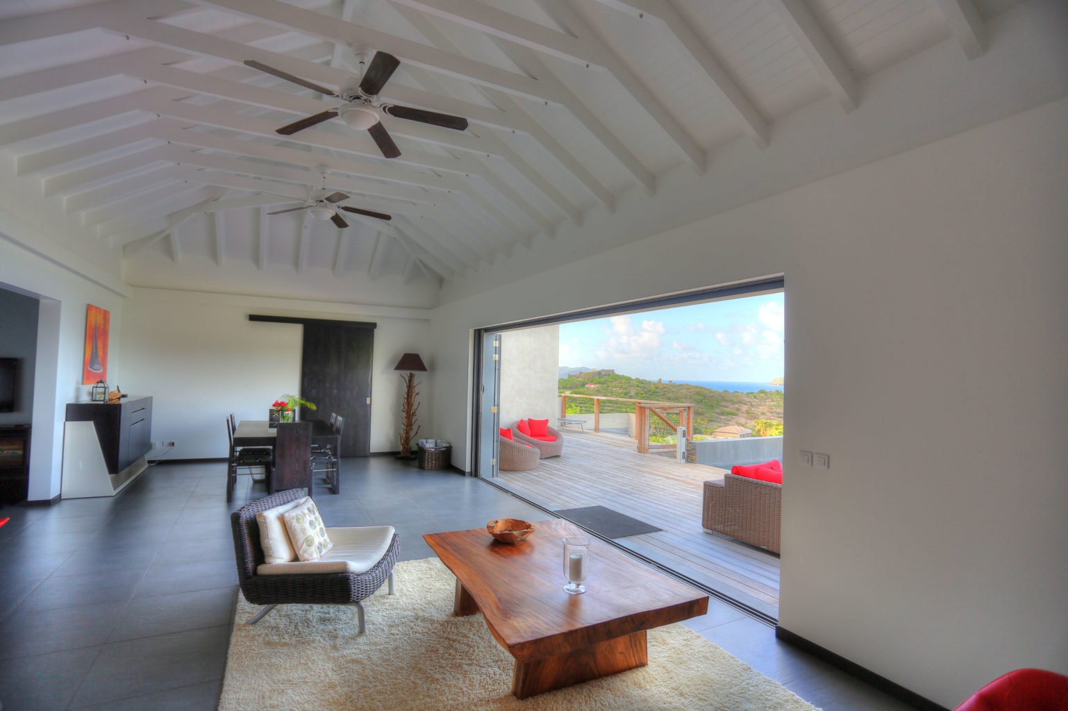 Villa Nita - Classy Villa for Rent St Barth with a Breathtaking View from Pointe Milou to St Martin - Living room