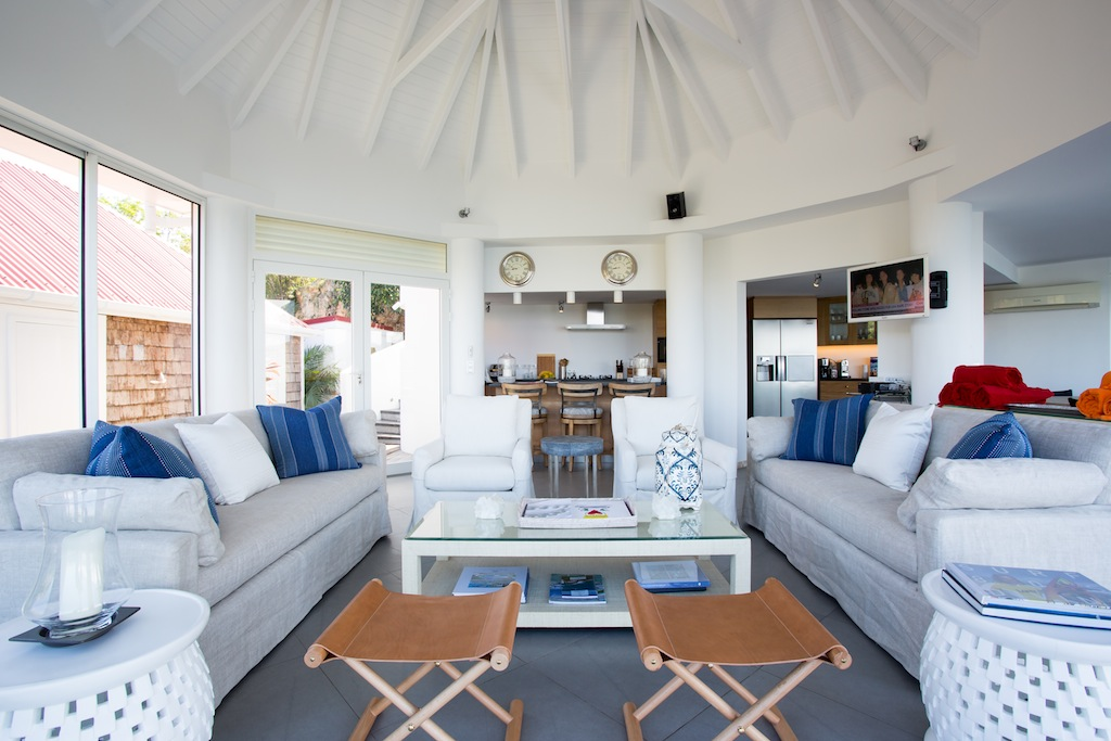 Villa Romana - Hillside Villa for Rent St Barth with Spectacular View Over St Jean Bay - Living room