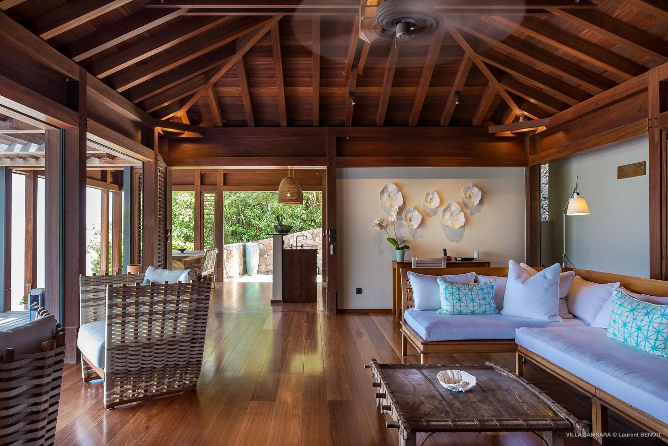 Villa Samsara - Sunset Villa For Rent St Barth Pointe Milou in Balinese Wood - Main Area