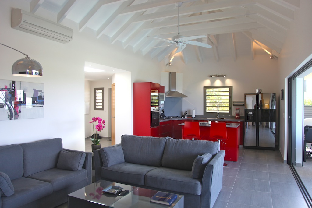 Villa Suite Acajous - Seaview Villa for Rent St Barth with an Amazing View over St Jean - Living room