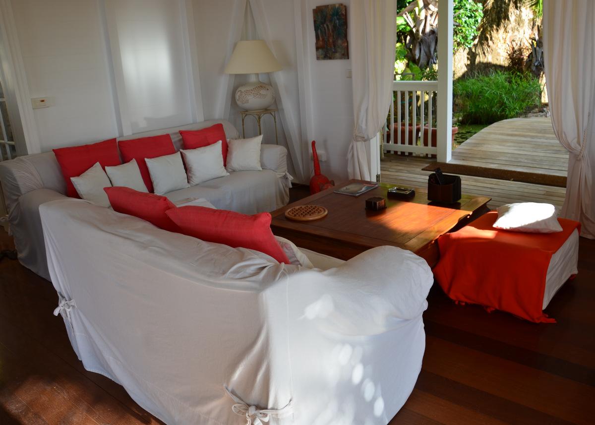 Villa Vagabond - Sunset Villa for Rent in the Hillside of Petite Saline St Barth - Living Room