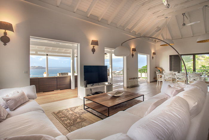 Villa W View - Breezy Villa for Rent St Barth with Fitness Equipment - Living Room
